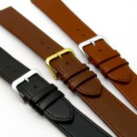 Comfortable Flexible Real Leather Watch Strap Buffalo grain 16mm-22mm 3 Colours